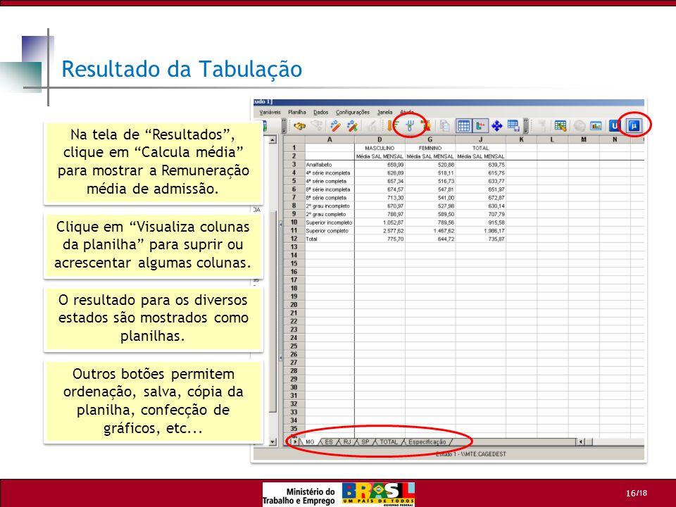/18 16 Resultado da Tabulação Na tela de Resultados, clique em Calcula média para mostrar a Remuneração média de admissão. Clique em Visualiza colunas