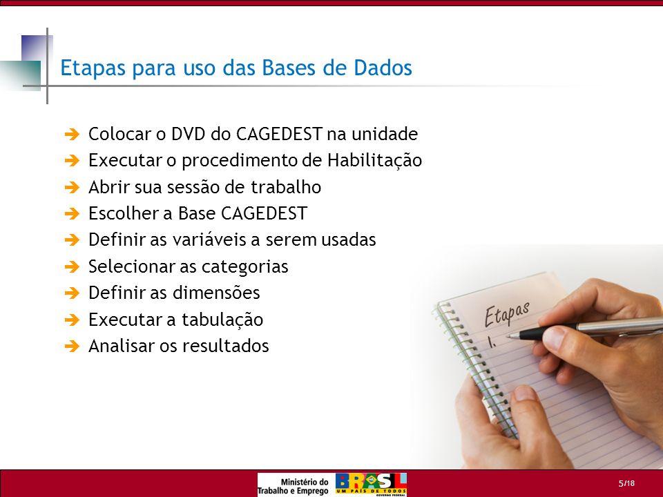 /18 5 Etapas para uso das Bases de Dados Colocar o DVD do CAGEDEST na unidade Executar o procedimento de Habilitação Abrir sua sessão de trabalho Esco