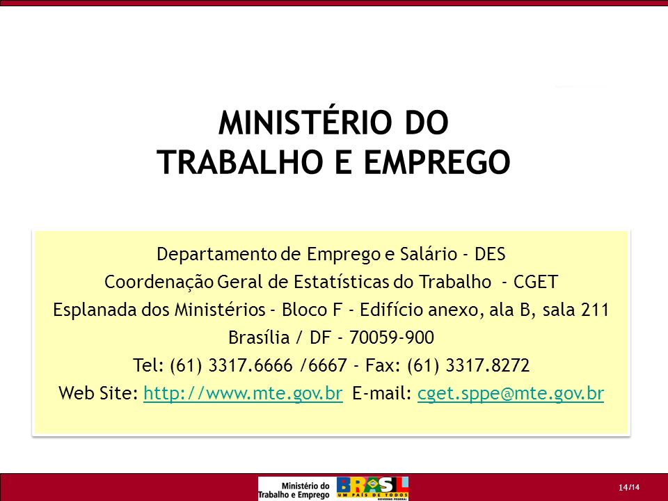 /14 14 Departamento de Emprego e Salário - DES Coordenação Geral de Estatísticas do Trabalho - CGET Esplanada dos Ministérios - Bloco F - Edifício ane