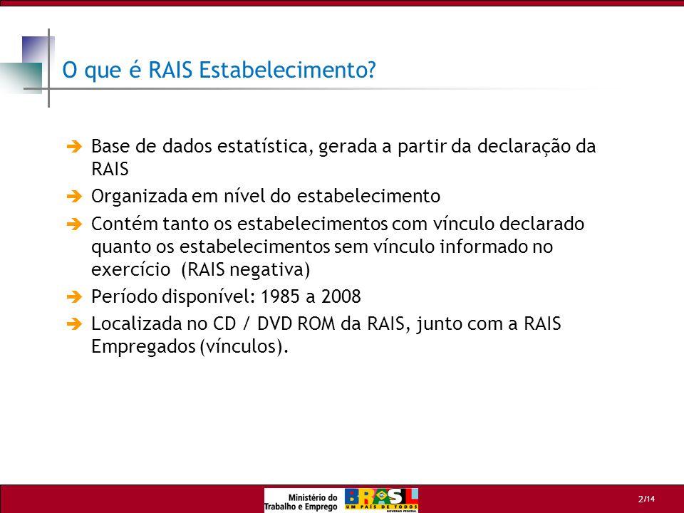 /14 2 O que é RAIS Estabelecimento? Base de dados estatística, gerada a partir da declaração da RAIS Organizada em nível do estabelecimento Contém tan