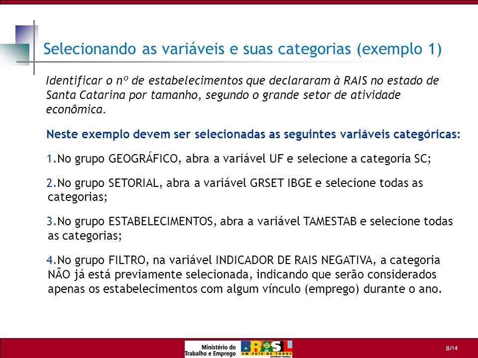 /14 8 Selecionando as variáveis e suas categorias (exemplo 1) Neste exemplo devem ser selecionadas as seguintes variáveis categóricas: 1.No grupo GEOG