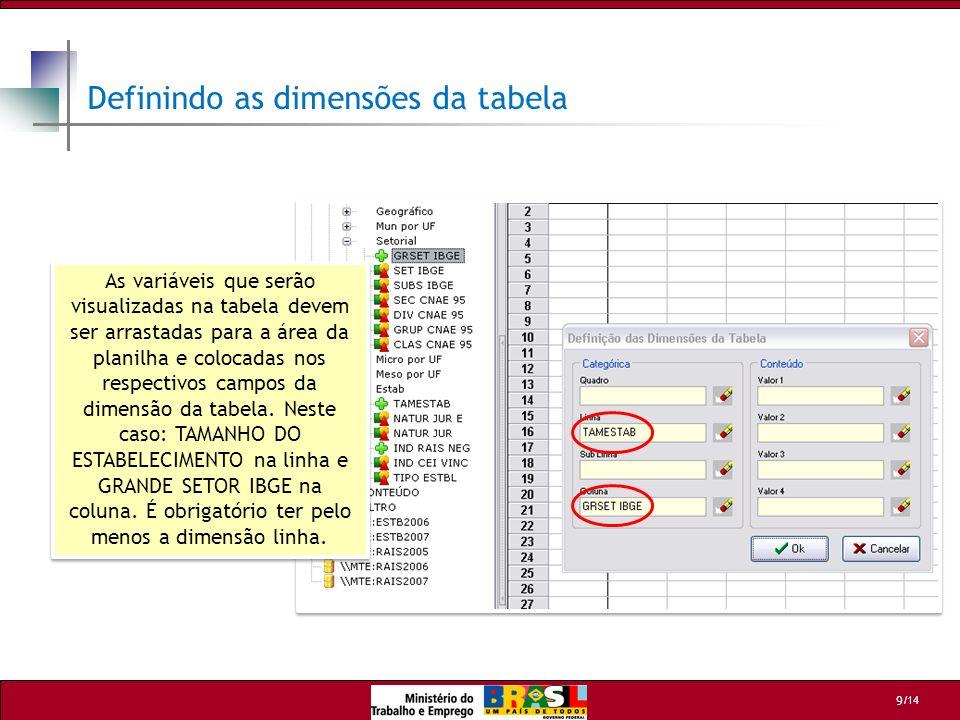 /14 9 As variáveis que serão visualizadas na tabela devem ser arrastadas para a área da planilha e colocadas nos respectivos campos da dimensão da tab