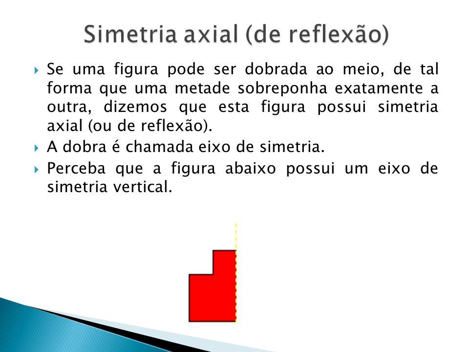 Se uma figura pode ser dobrada ao meio, de tal forma que uma metade sobreponha exatamente a outra, dizemos que esta figura possui simetria axial (ou de reflexão).
