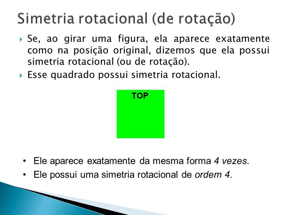 Se, ao girar uma figura, ela aparece exatamente como na posição original, dizemos que ela possui simetria rotacional (ou de rotação).