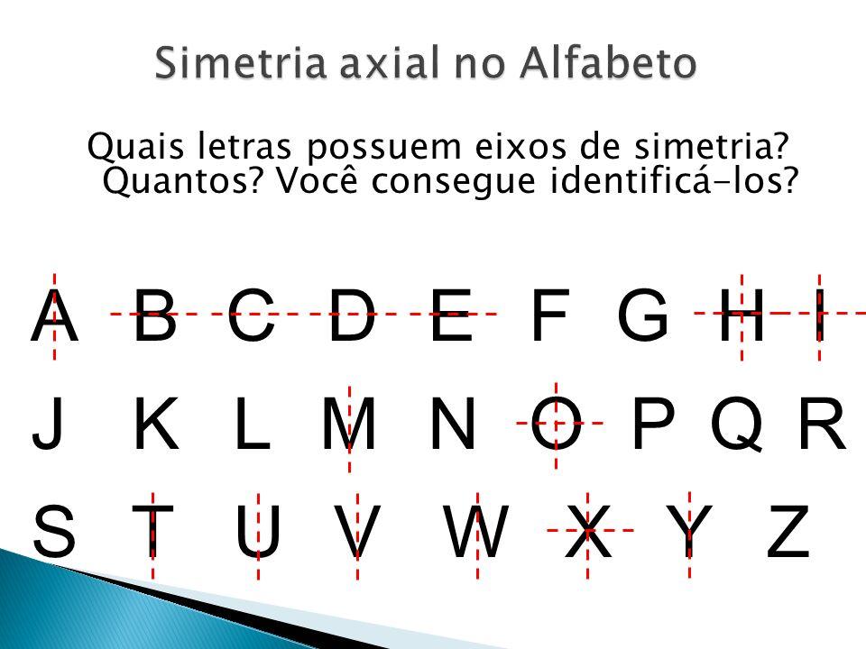 Quais letras possuem eixos de simetria.Quantos. Você consegue identificá-los.