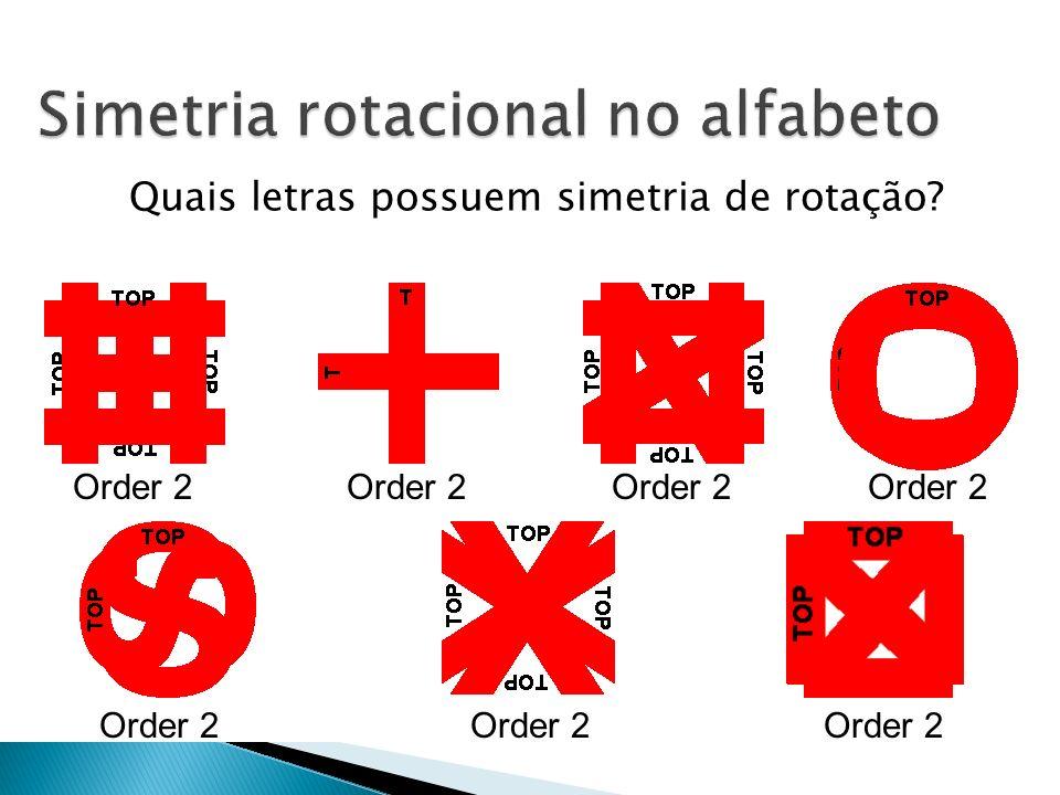 Quais letras possuem simetria de rotação? ABCDEFGHI JKLMNOPQR STUVWXYZ Order 2