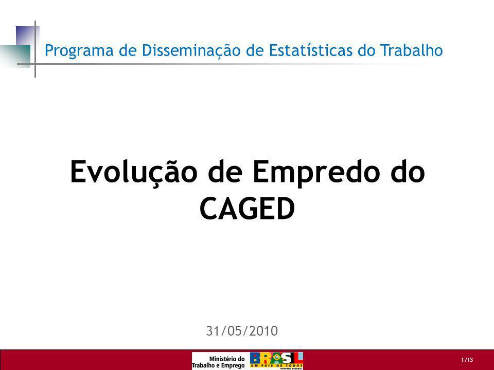 1 /13 Evolução de Empredo do CAGED 31/05/2010 Programa de Disseminação de Estatísticas do Trabalho