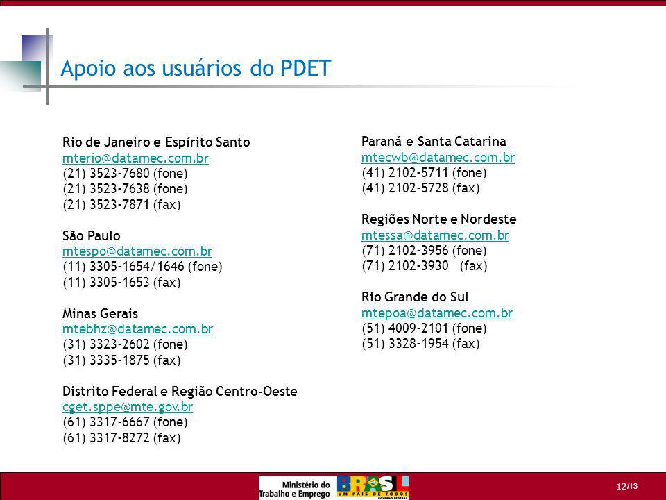 /13 12 Apoio aos usuários do PDET Rio de Janeiro e Espírito Santo mterio@datamec.com.br mterio@datamec.com.br (21) 3523-7680 (fone) (21) 3523-7638 (fo