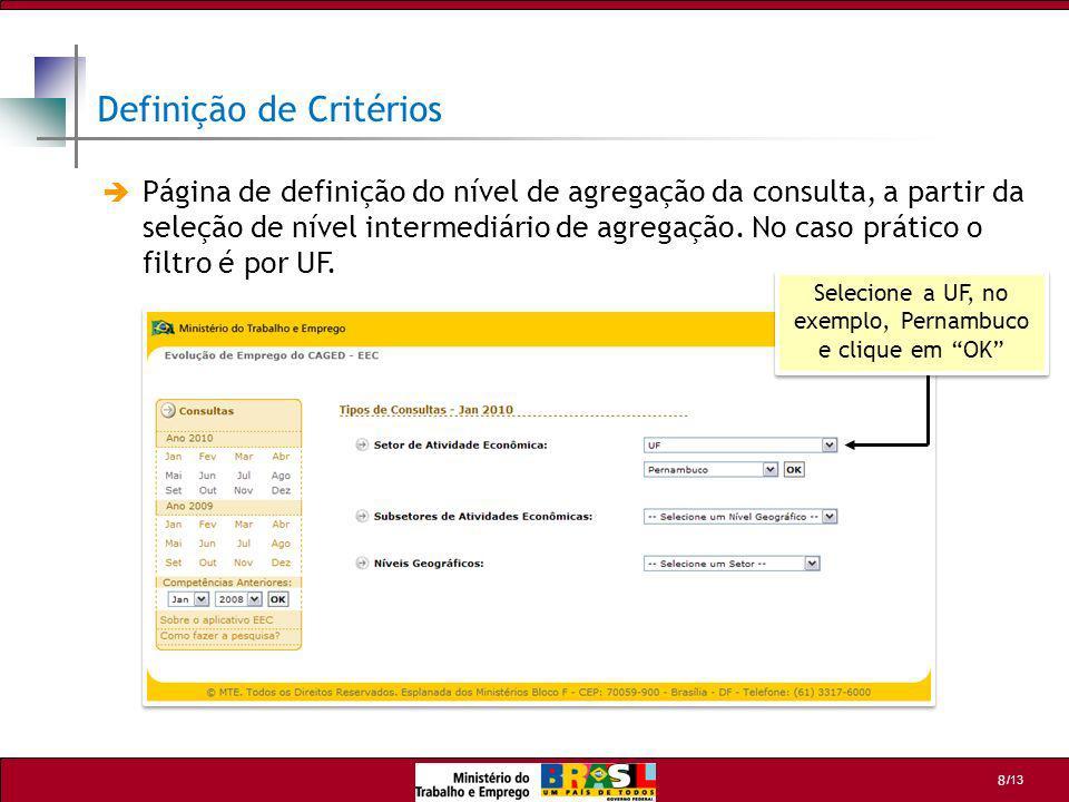 /13 8 Definição de Critérios Página de definição do nível de agregação da consulta, a partir da seleção de nível intermediário de agregação. No caso p