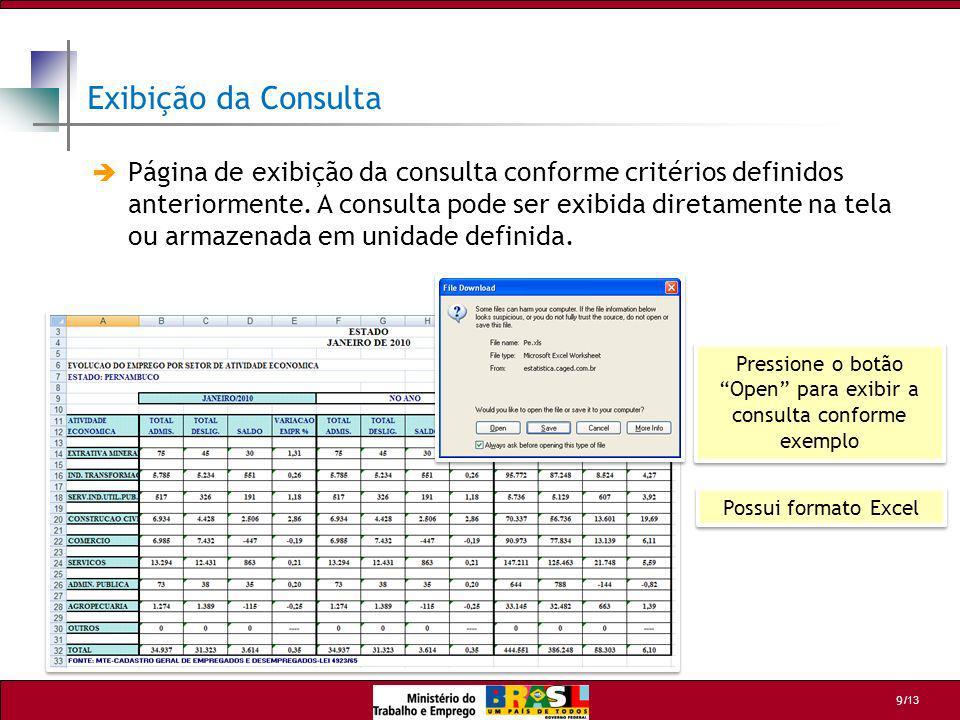 /13 9 Possui formato Excel Pressione o botão Open para exibir a consulta conforme exemplo Página de exibição da consulta conforme critérios definidos