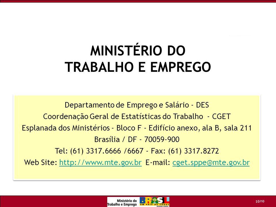 /10 10 Departamento de Emprego e Salário - DES Coordenação Geral de Estatísticas do Trabalho - CGET Esplanada dos Ministérios - Bloco F - Edifício ane