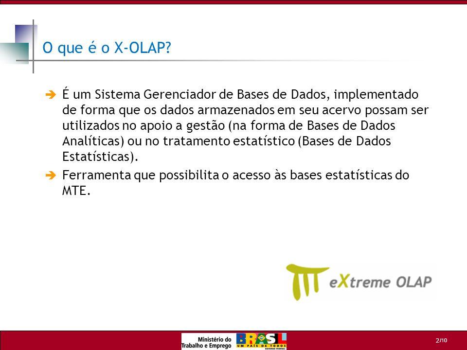 /10 2 O que é o X-OLAP? É um Sistema Gerenciador de Bases de Dados, implementado de forma que os dados armazenados em seu acervo possam ser utilizados