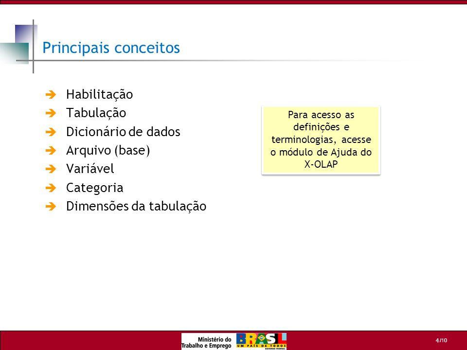 /10 4 Principais conceitos Habilitação Tabulação Dicionário de dados Arquivo (base) Variável Categoria Dimensões da tabulação Para acesso as definiçõe