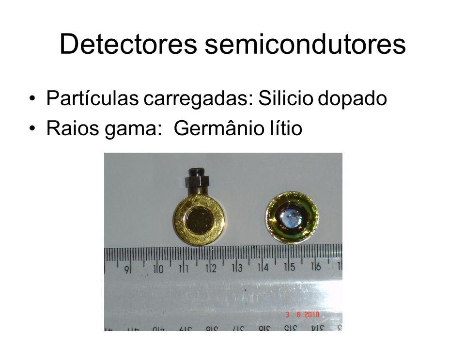 Detectores semicondutores Partículas carregadas: Silicio dopado Raios gama: Germânio lítio