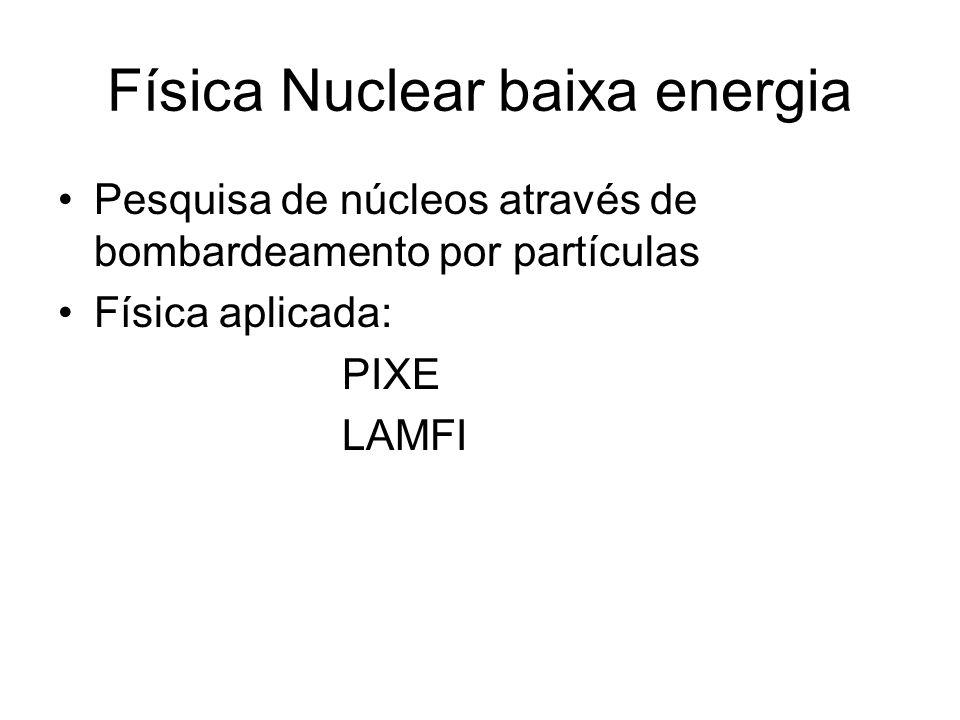 Física Nuclear baixa energia Pesquisa de núcleos através de bombardeamento por partículas Física aplicada: PIXE LAMFI