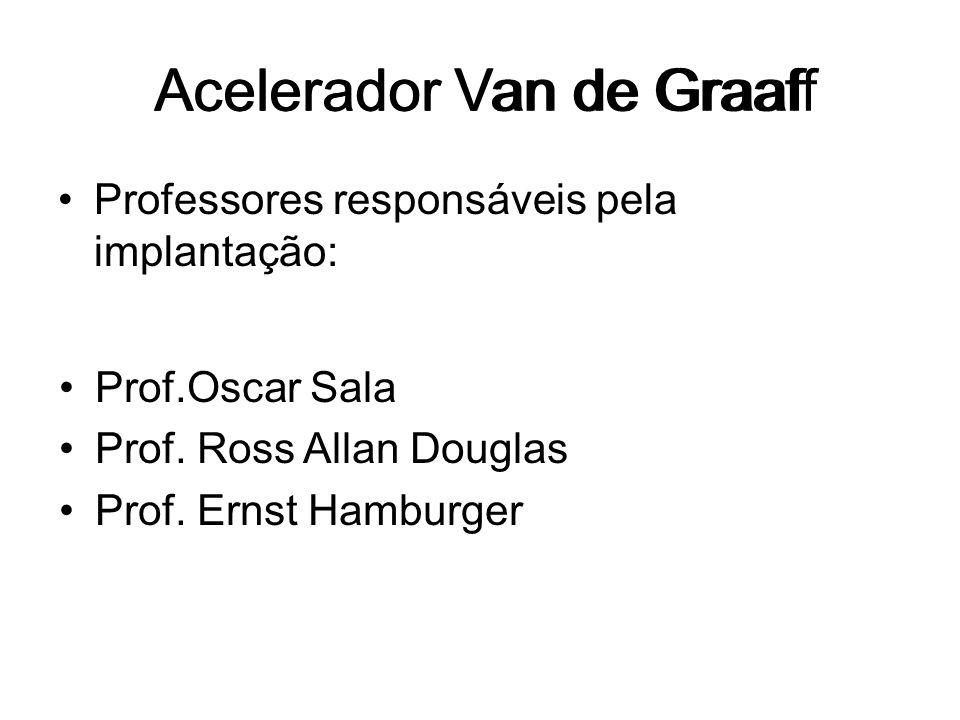 Acelerador Van de Graaf Professores responsáveis pela implantação: Acelerador Van de Graaff Prof.Oscar Sala Prof. Ross Allan Douglas Prof. Ernst Hambu