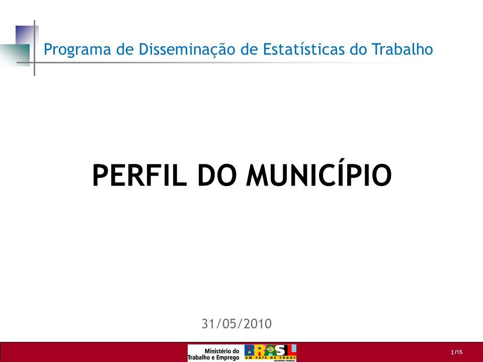 1 /15 PERFIL DO MUNICÍPIO 31/05/2010 Programa de Disseminação de Estatísticas do Trabalho
