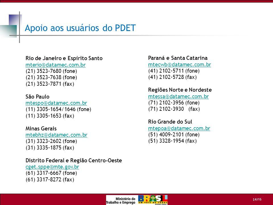 /15 14 Apoio aos usuários do PDET Rio de Janeiro e Espírito Santo mterio@datamec.com.br mterio@datamec.com.br (21) 3523-7680 (fone) (21) 3523-7638 (fo