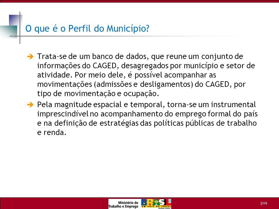 /15 2 O que é o Perfil do Município? Trata-se de um banco de dados, que reune um conjunto de informações do CAGED, desagregados por município e setor