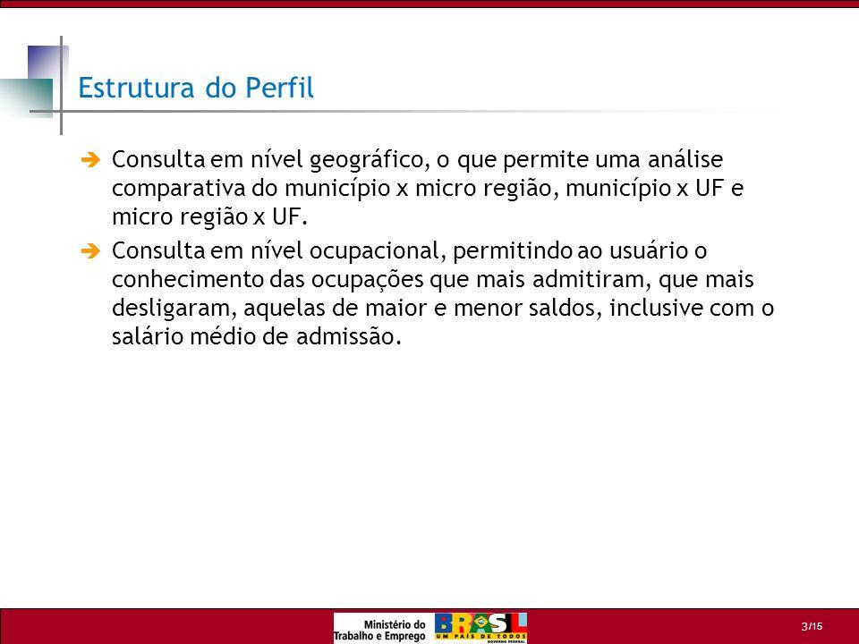 /15 3 Consulta em nível geográfico, o que permite uma análise comparativa do município x micro região, município x UF e micro região x UF. Consulta em
