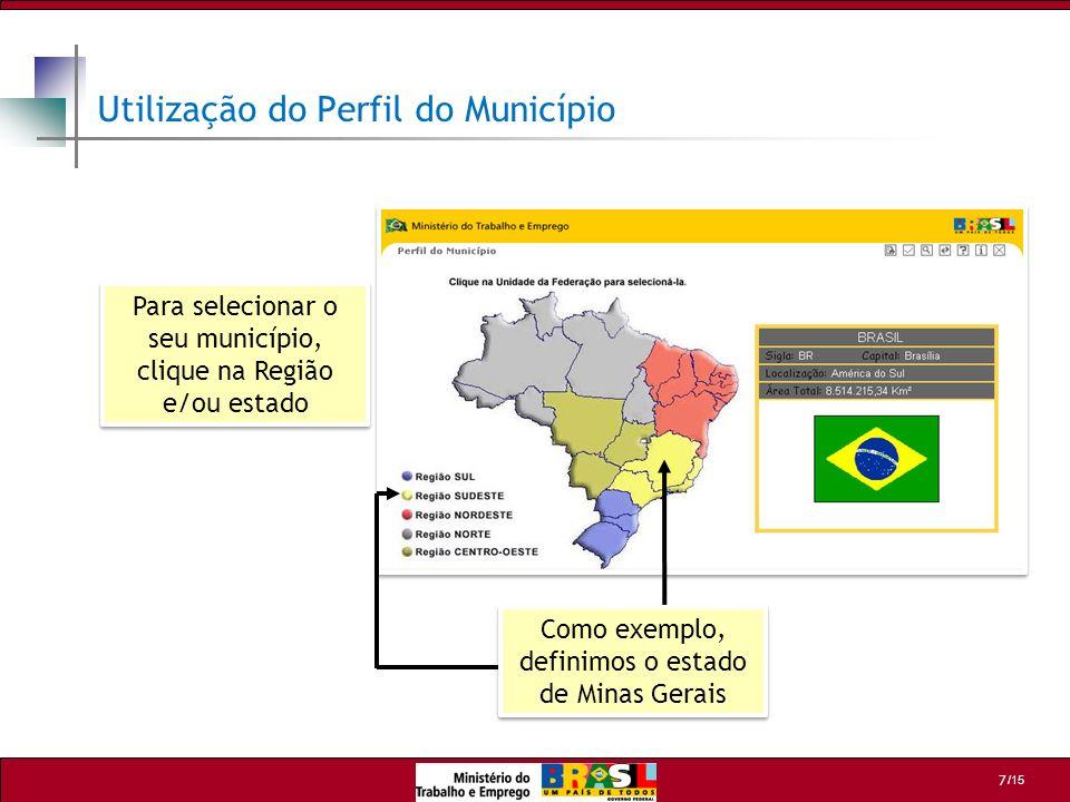 /15 7 Utilização do Perfil do Município Como exemplo, definimos o estado de Minas Gerais Para selecionar o seu município, clique na Região e/ou estado