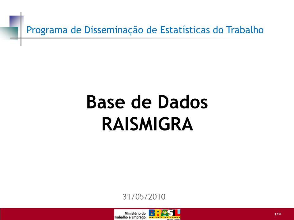 /31 12 RAISMIGRA PAINEL – Exemplo 2 Neste exemplo, devem ser selecionadas as seguintes categorias: UF 06 = SÃO PAULO SET IBG 06 = INDUSTRIA DA TRANSFORMAÇÃO MÊS DESLIG 06 = JANEIRO A DEZEMBRO TEM VINC 07 = NÃO TEM VINC 08 = NAO Nivelar na LINHA: GR INSTR 06 Nivelar na COLUNA: GENERO 06 Obs: Para obtenção dos desligamentos em 2006, independente do retorno em anos posteriores, selecionar apenas as variáveis de 2006.