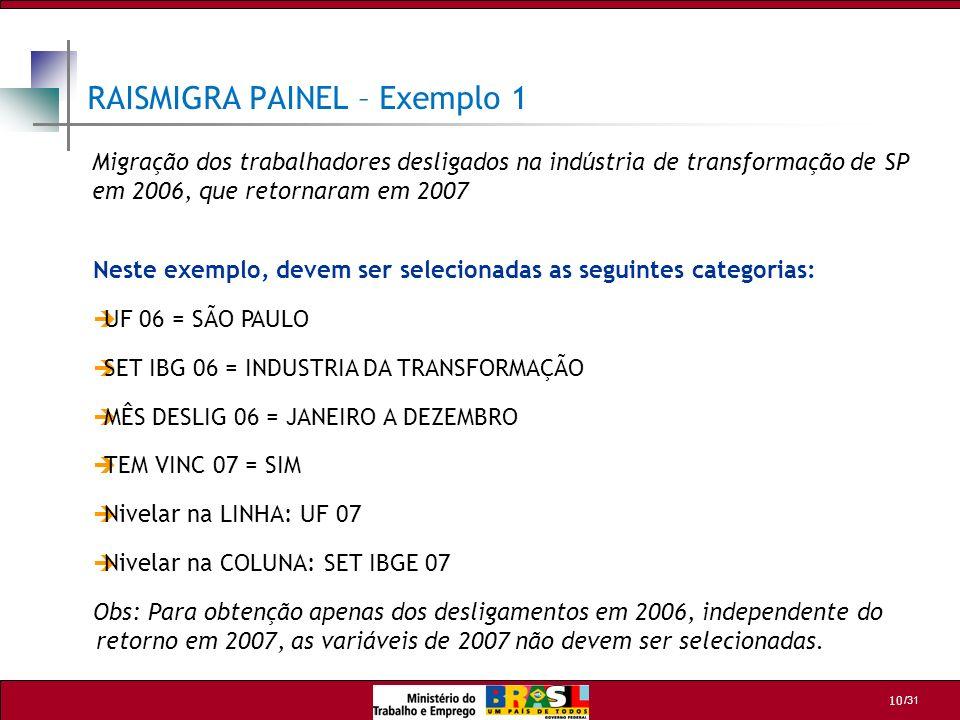 /31 10 RAISMIGRA PAINEL – Exemplo 1 Neste exemplo, devem ser selecionadas as seguintes categorias: UF 06 = SÃO PAULO SET IBG 06 = INDUSTRIA DA TRANSFO