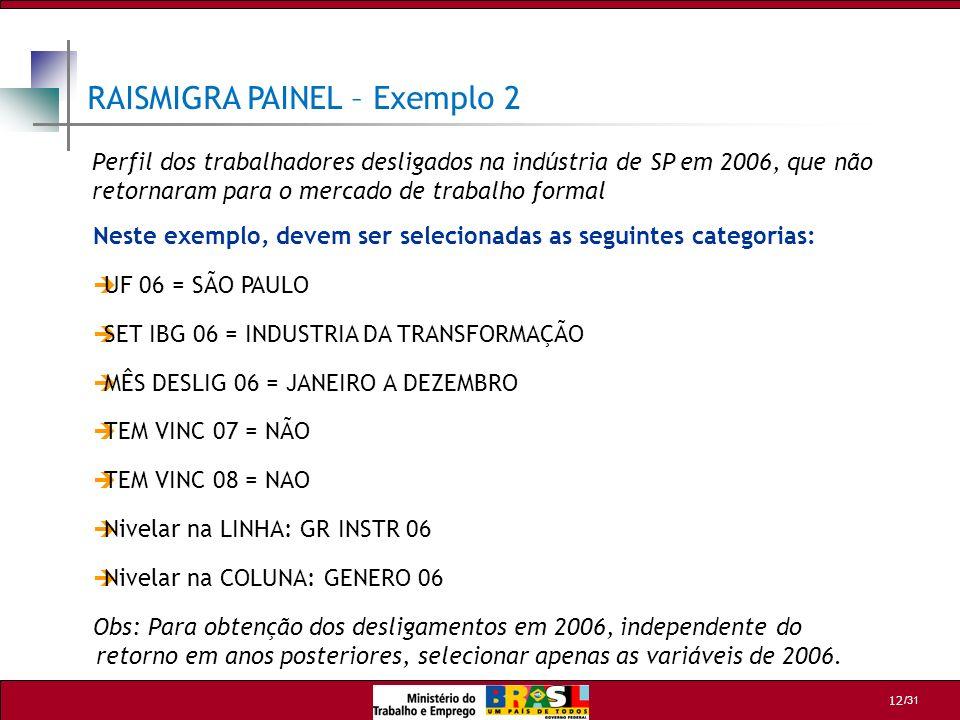 /31 12 RAISMIGRA PAINEL – Exemplo 2 Neste exemplo, devem ser selecionadas as seguintes categorias: UF 06 = SÃO PAULO SET IBG 06 = INDUSTRIA DA TRANSFO