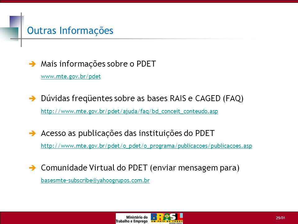 /31 29 Outras Informações Mais informações sobre o PDET www.mte.gov.br/pdet Dúvidas freqüentes sobre as bases RAIS e CAGED (FAQ) http://www.mte.gov.br