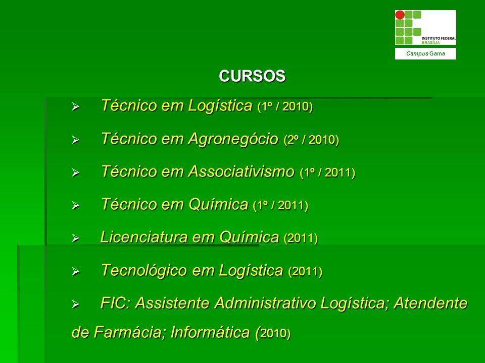 CURSOS Técnico em Logística (1º / 2010) Técnico em Logística (1º / 2010) Técnico em Agronegócio (2º / 2010) Técnico em Agronegócio (2º / 2010) Técnico