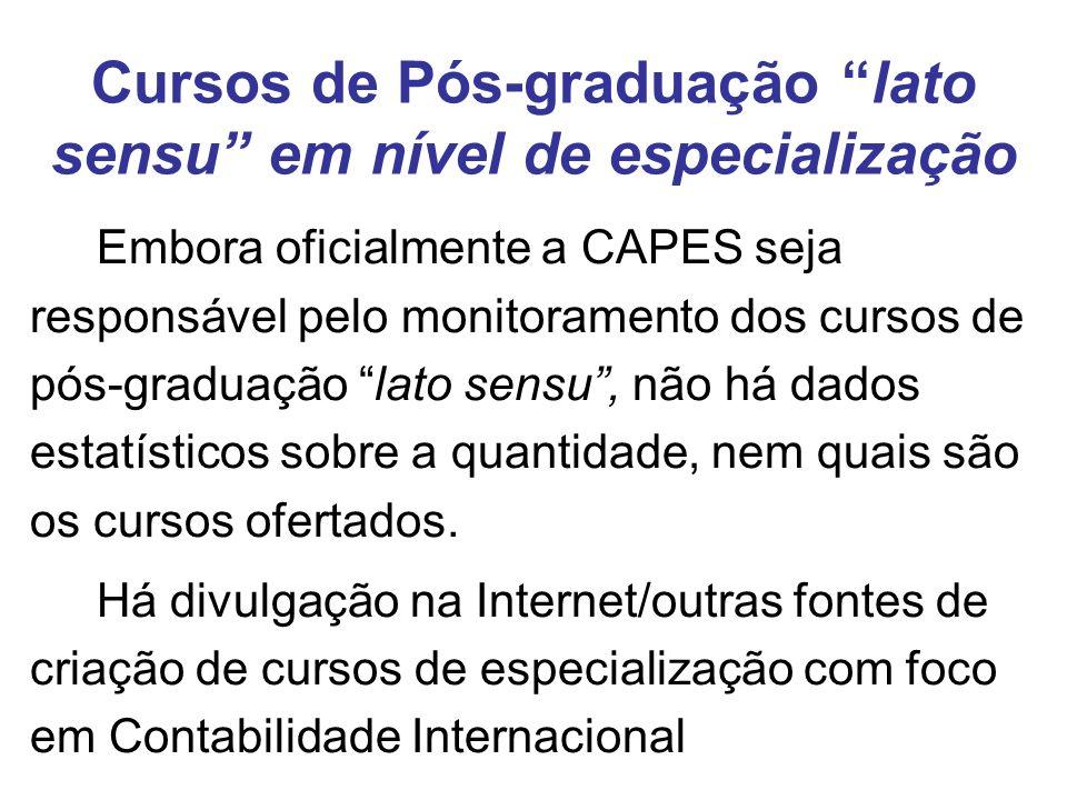 Cursos de Pós-graduação lato sensu em nível de especialização Embora oficialmente a CAPES seja responsável pelo monitoramento dos cursos de pós-graduação lato sensu, não há dados estatísticos sobre a quantidade, nem quais são os cursos ofertados.