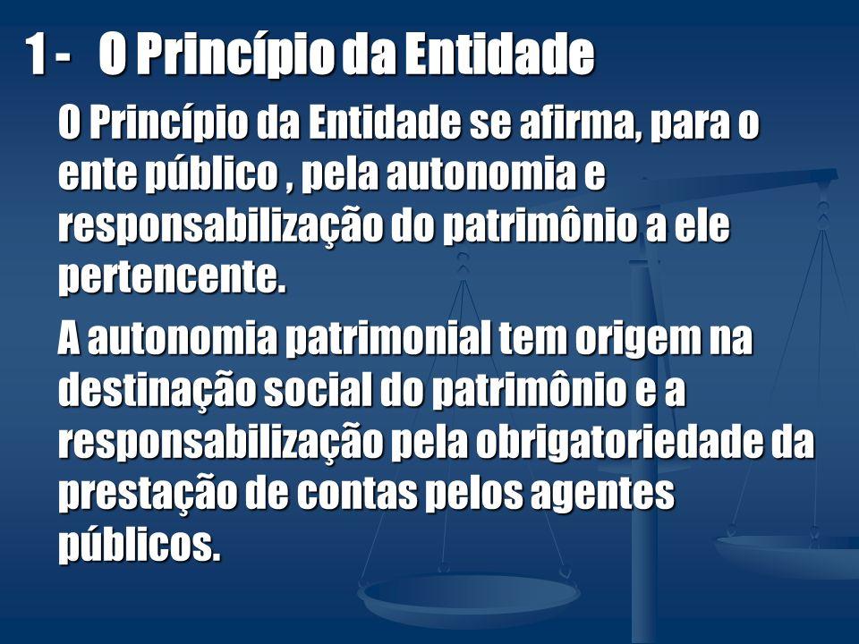 1 - O Princípio da Entidade O Princípio da Entidade se afirma, para o ente público, pela autonomia e responsabilização do patrimônio a ele pertencente