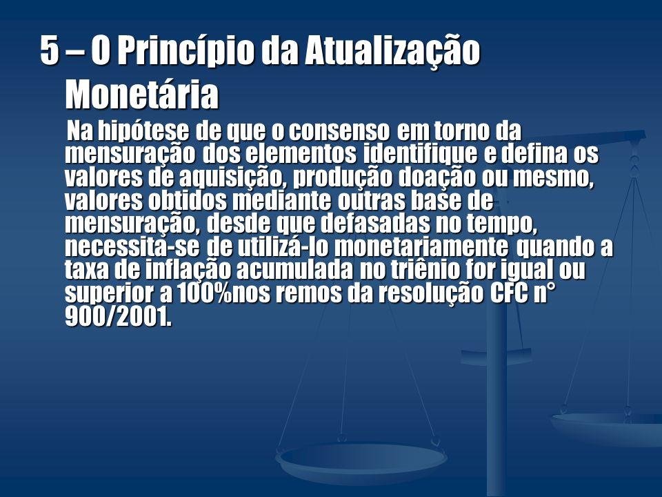 5 – O Princípio da Atualização Monetária Na hipótese de que o consenso em torno da mensuração dos elementos identifique e defina os valores de aquisiç