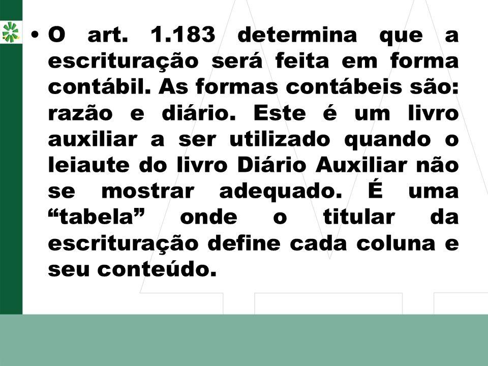 O art. 1.183 determina que a escrituração será feita em forma contábil. As formas contábeis são: razão e diário. Este é um livro auxiliar a ser utiliz