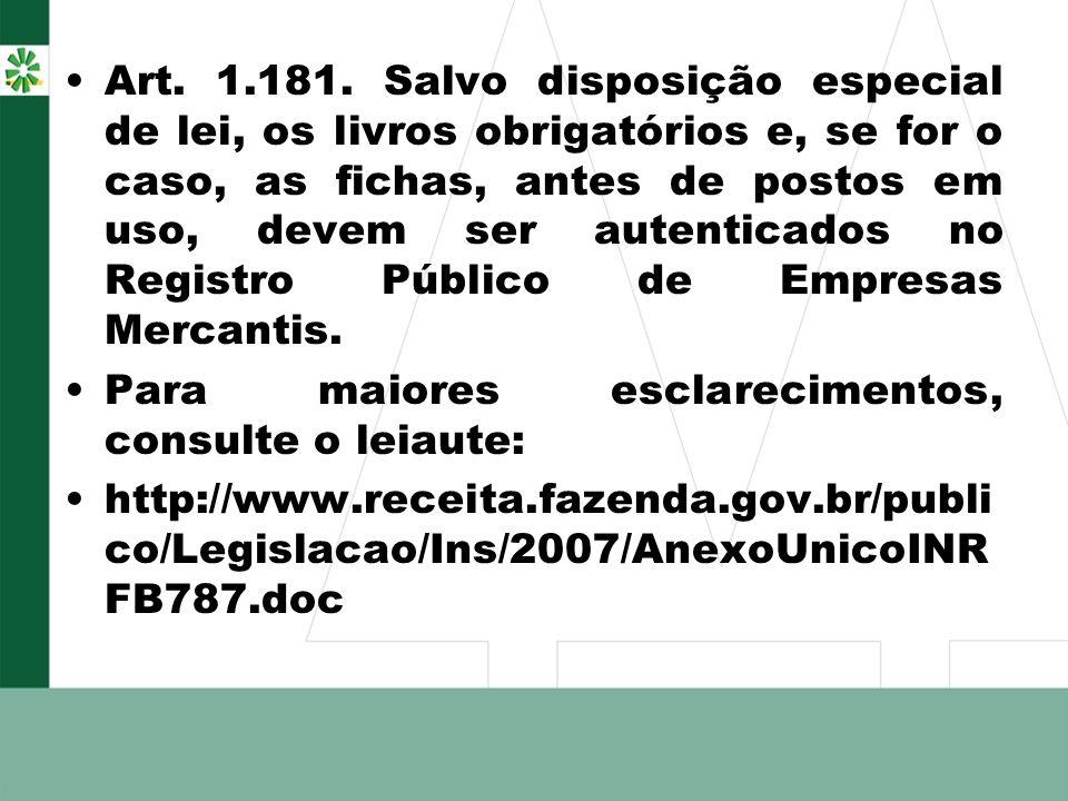 Art. 1.181. Salvo disposição especial de lei, os livros obrigatórios e, se for o caso, as fichas, antes de postos em uso, devem ser autenticados no Re