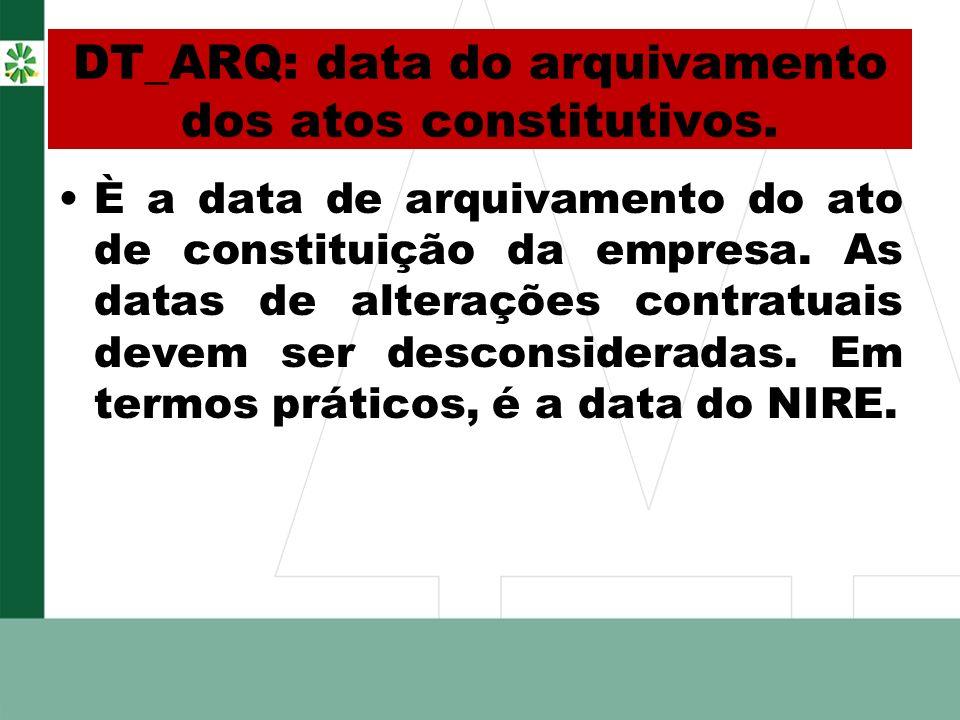 DT_ARQ: data do arquivamento dos atos constitutivos. È a data de arquivamento do ato de constituição da empresa. As datas de alterações contratuais de