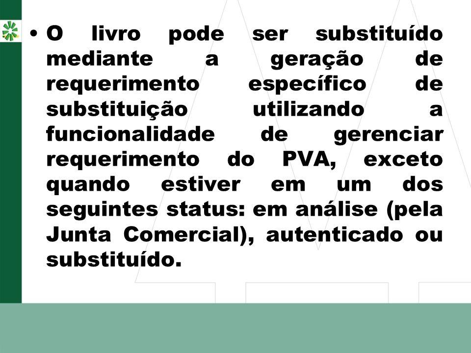 O livro pode ser substituído mediante a geração de requerimento específico de substituição utilizando a funcionalidade de gerenciar requerimento do PV