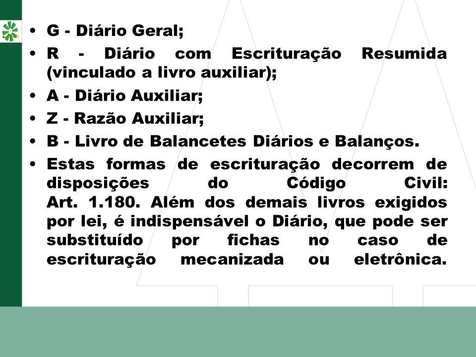 G - Diário Geral; R - Diário com Escrituração Resumida (vinculado a livro auxiliar); A - Diário Auxiliar; Z - Razão Auxiliar; B - Livro de Balancetes