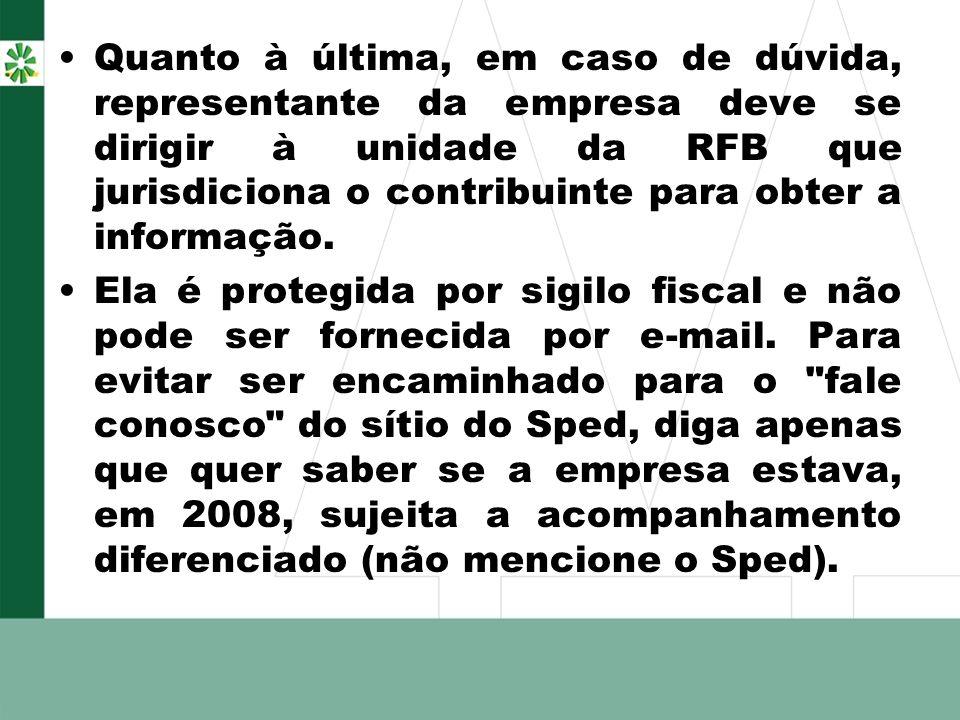 Quanto à última, em caso de dúvida, representante da empresa deve se dirigir à unidade da RFB que jurisdiciona o contribuinte para obter a informação.