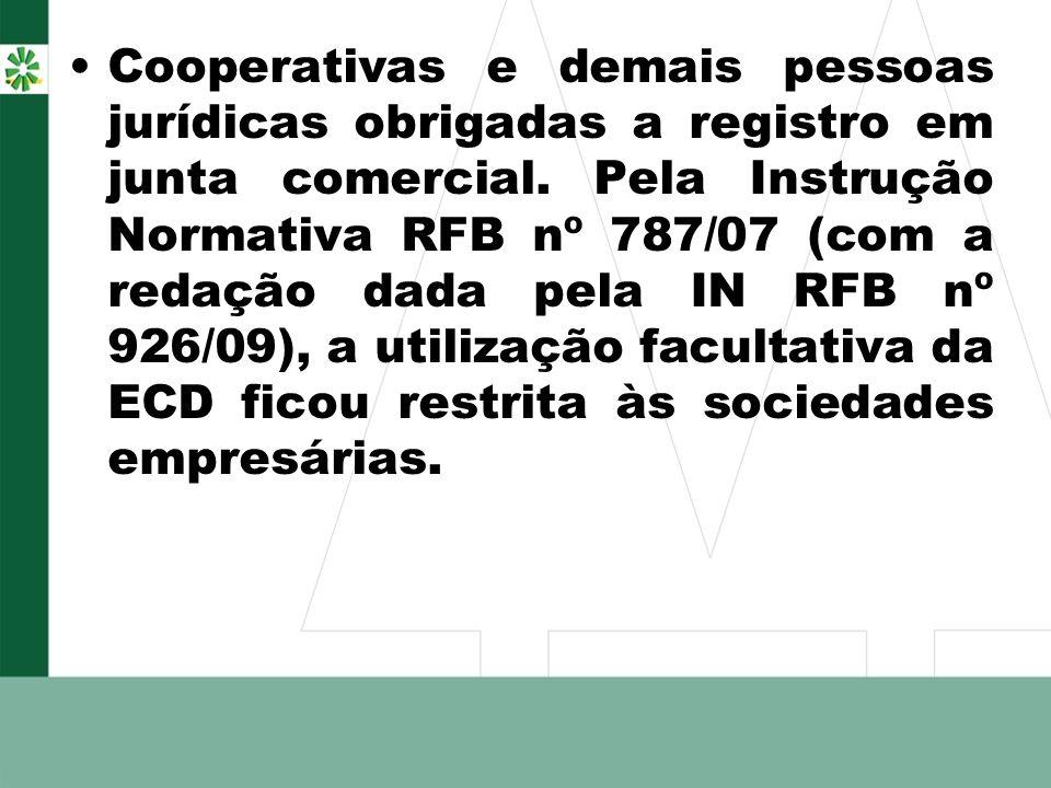 Cooperativas e demais pessoas jurídicas obrigadas a registro em junta comercial. Pela Instrução Normativa RFB nº 787/07 (com a redação dada pela IN RF