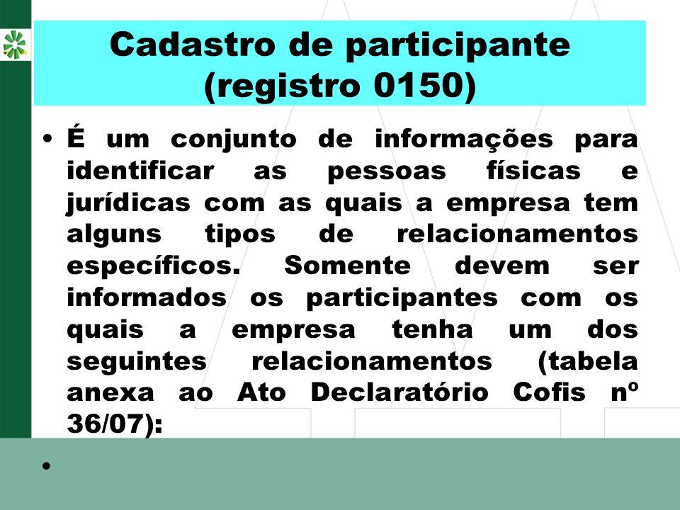 Cadastro de participante (registro 0150) É um conjunto de informações para identificar as pessoas físicas e jurídicas com as quais a empresa tem algun