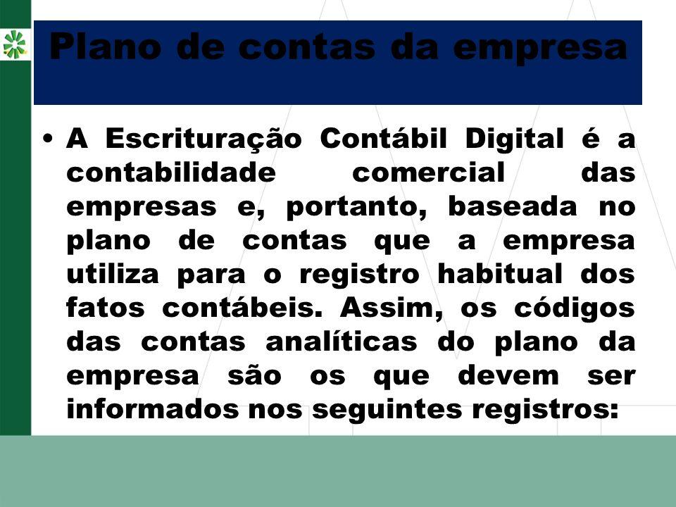 Plano de contas da empresa A Escrituração Contábil Digital é a contabilidade comercial das empresas e, portanto, baseada no plano de contas que a empr