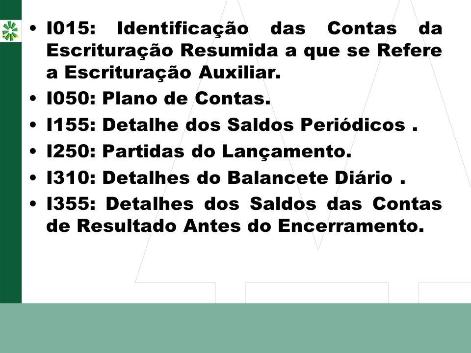 I015: Identificação das Contas da Escrituração Resumida a que se Refere a Escrituração Auxiliar. I050: Plano de Contas. I155: Detalhe dos Saldos Perió
