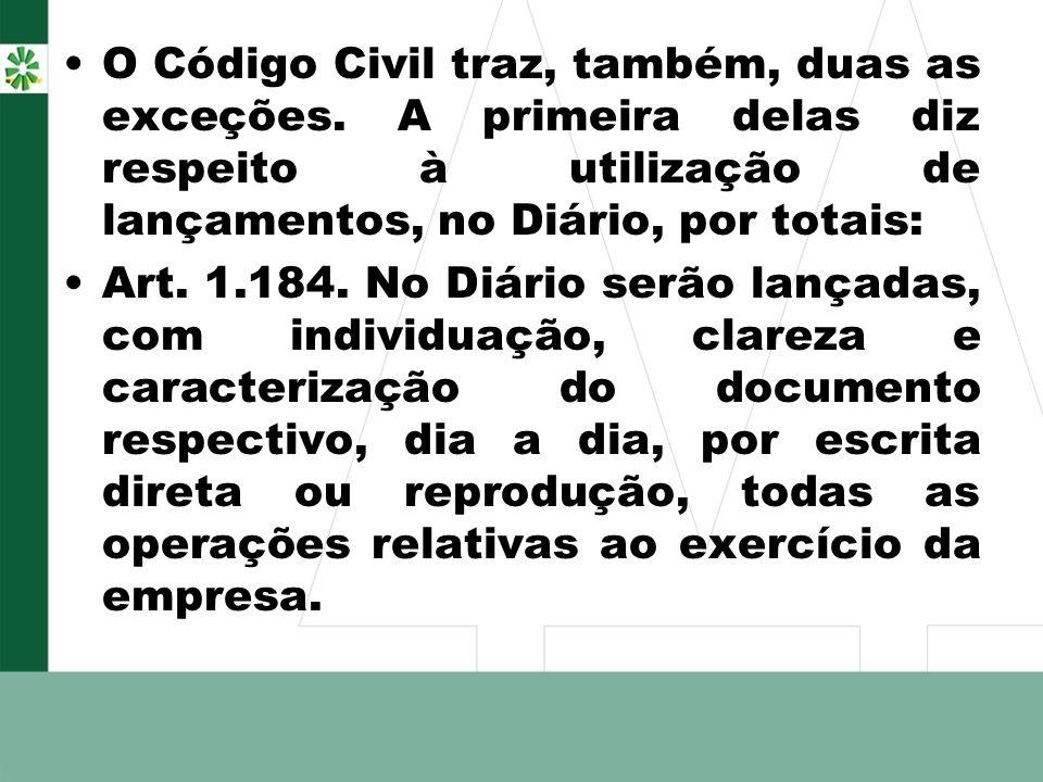 O Código Civil traz, também, duas as exceções. A primeira delas diz respeito à utilização de lançamentos, no Diário, por totais: Art. 1.184. No Diário
