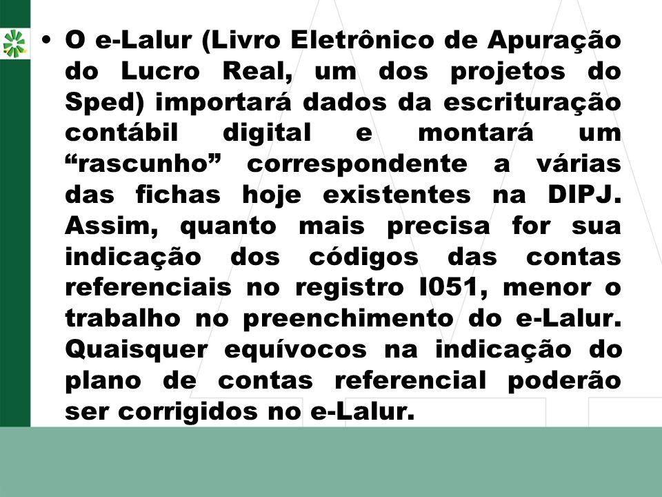 O e-Lalur (Livro Eletrônico de Apuração do Lucro Real, um dos projetos do Sped) importará dados da escrituração contábil digital e montará um rascunho