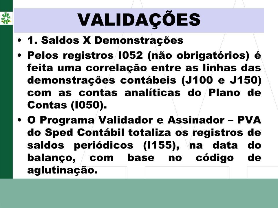 VALIDAÇÕES 1. Saldos X Demonstrações Pelos registros I052 (não obrigatórios) é feita uma correlação entre as linhas das demonstrações contábeis (J100