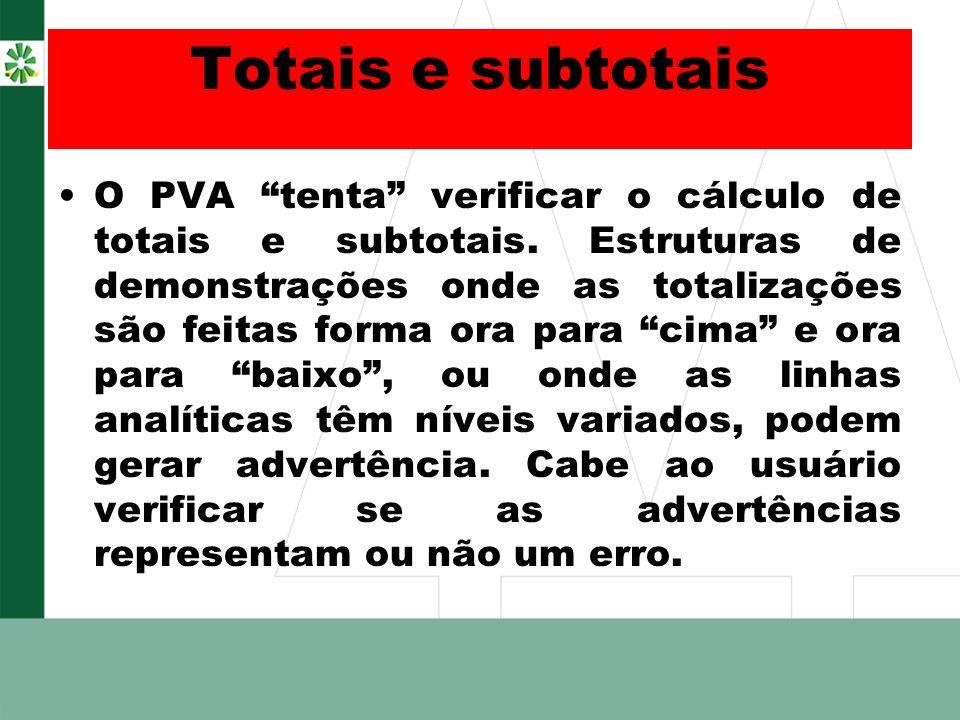 Totais e subtotais O PVA tenta verificar o cálculo de totais e subtotais. Estruturas de demonstrações onde as totalizações são feitas forma ora para c