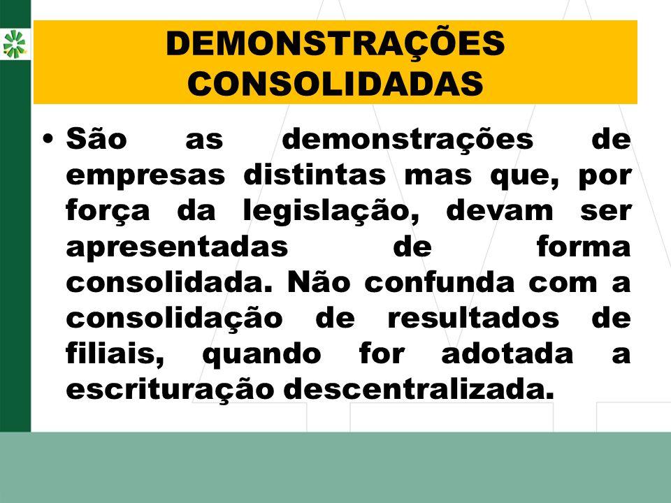 DEMONSTRAÇÕES CONSOLIDADAS São as demonstrações de empresas distintas mas que, por força da legislação, devam ser apresentadas de forma consolidada. N