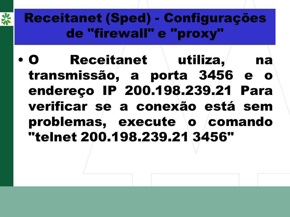 Receitanet (Sped) - Configurações de