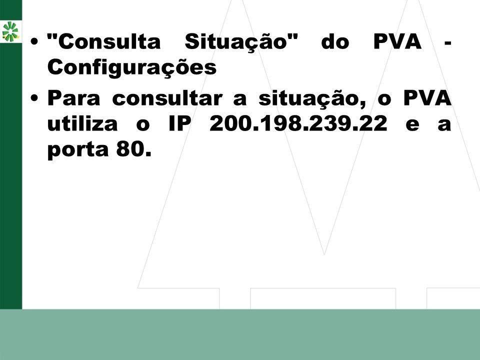 Consulta Situação do PVA - Configurações Para consultar a situação, o PVA utiliza o IP 200.198.239.22 e a porta 80.